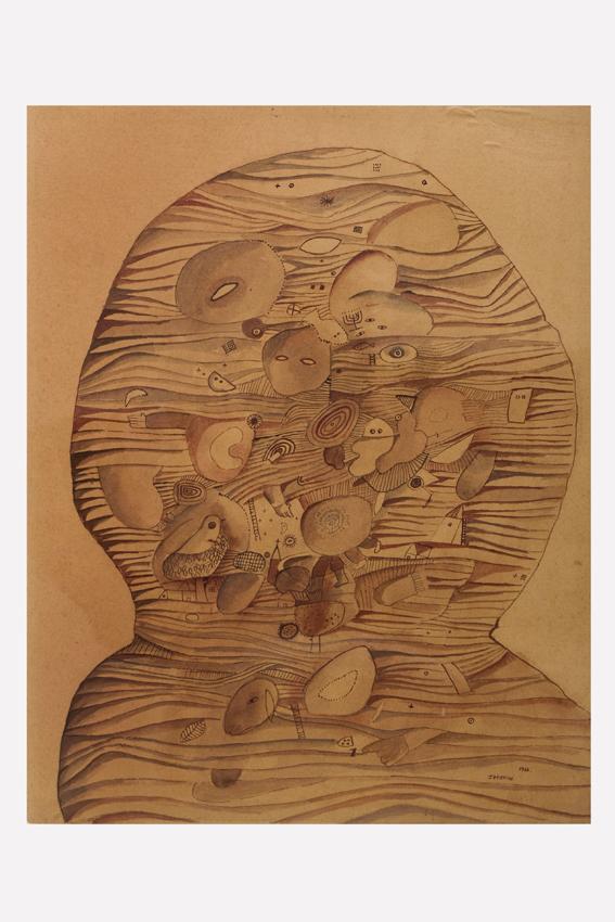 Golem,  40 x 32 cm., acuarela s.papel, 1966