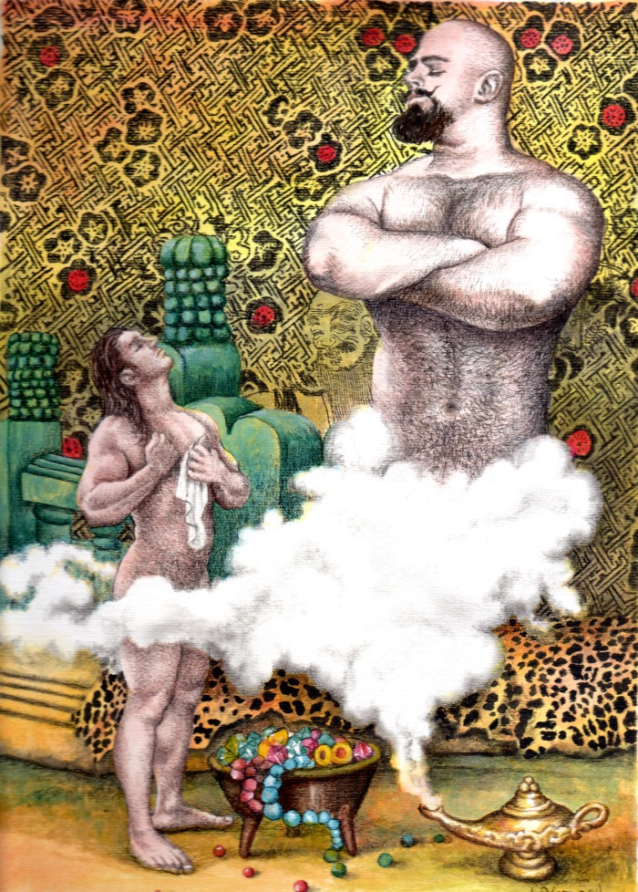 ALVARO, JORGE - Aladino y el genio - acuarela - 60x50cm - 2014 - copia
