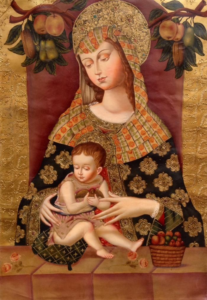 Hermanos Choque Galdos, Virgen con frutas, 80x120, 2014