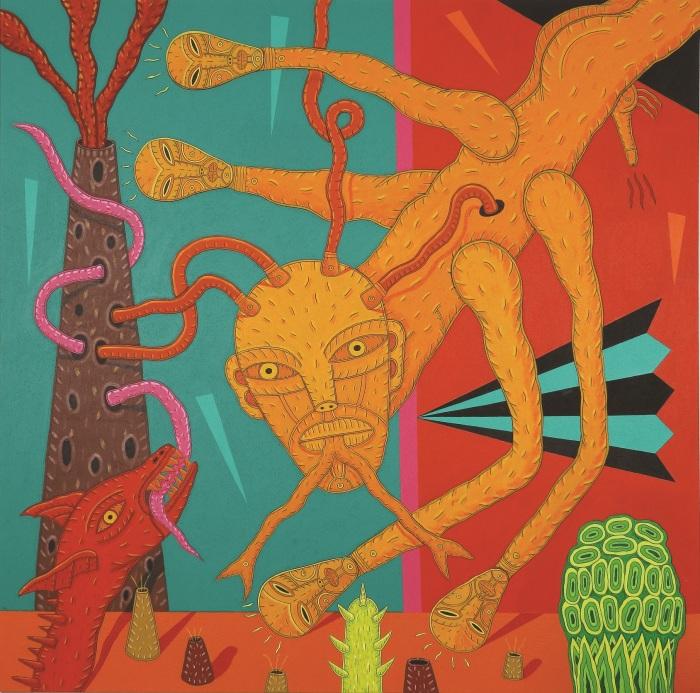 El retorno de la serpiente.acrílico s tela-200x200cm-2014