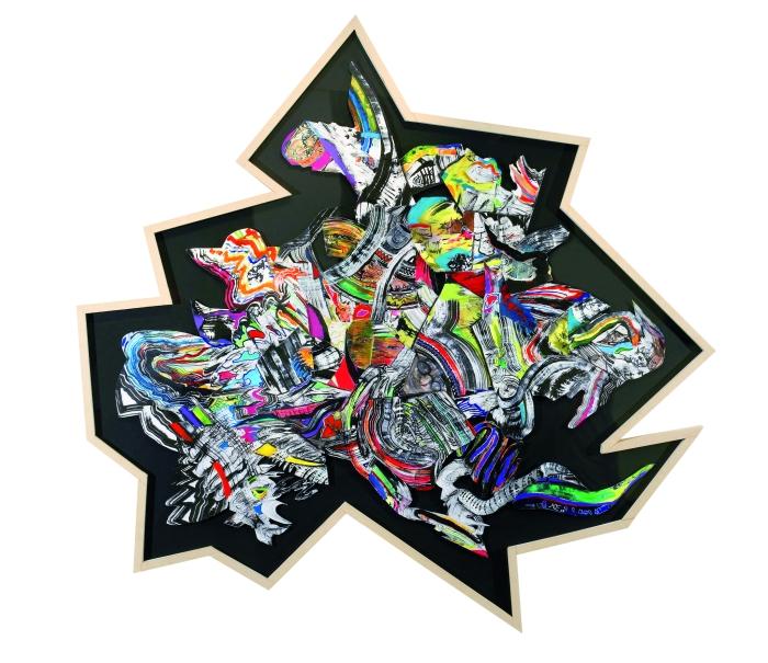 El estricto orden de las cosas, 2006. Acrílico y tinta sobre papel, 184 x 168 cm