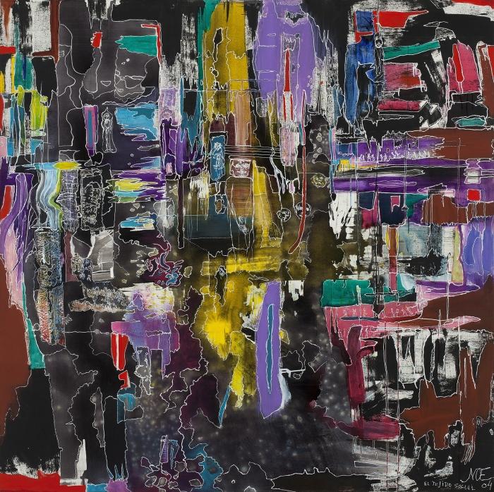 El tejido social, 2004. Tinta y acrílico sobre tela. 200 x 200 cm