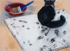 AlonsoRoux - El gato pintor - 2014 - Pastel y carbón sobre papel - 56 x 76 cm