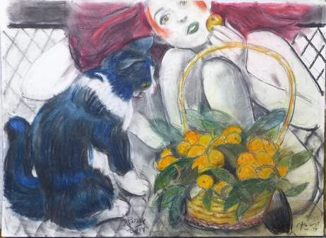 AlonsoRoux - Nísperos - 2014 - Pastel y carbón sobre papel - 56 x 76 cm