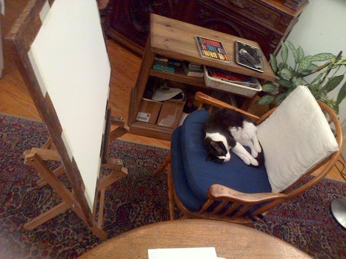 Espacio de trabajo de Roux en el living (Ph: MPZ)