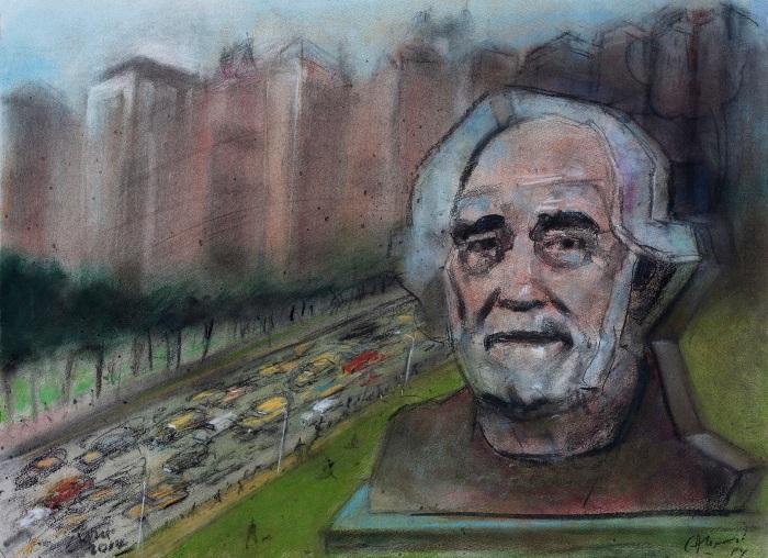 AlonsoRoux - Monumento en Park Avenue - Pastel y carbón sobre papel - 56 x 76 cm