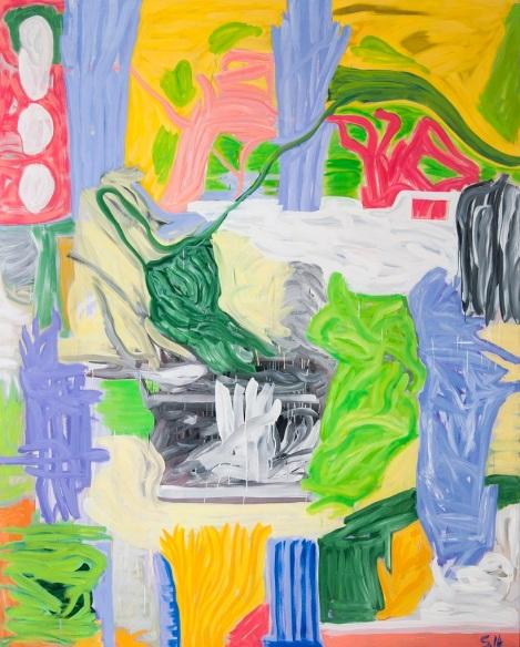 Barcelona es barrigona y burra, óleo sobre tela, 250x200cm, 2014