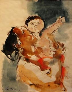 Niño feliz (maternidad): Técnica mixta sobre papel, 58 cm. x 74 cm, 1964. Instalado en Europa, radicaliza los lenguajes modernos, y acentúa facetamientos en sus personajes.