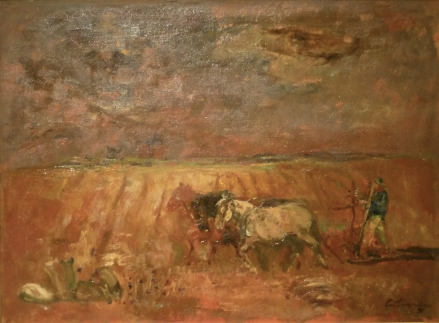 En el trigal: Óleo sobre tela, 61 cm. x 45 cm., 1951. Pintor del pueblo, los personajes y las tareas rurales son una constante en su obra.