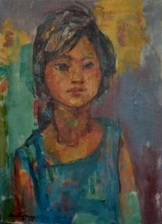La Chiruza: Óleo sobre tela, 40 cm. x 50 cm., 1955. Se cree que es una niña humilde de Buenos Aires. El peón rural va cediendo su lugar al obrero fabril en sus pinturas siempre de carácter social.