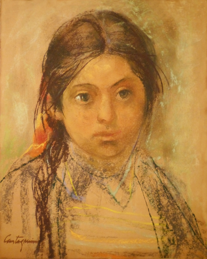 Nena: Oleo pastel sobre papel, 40 cm. x 50 cm, años '40. Es una nena jujeña, de la época en que Castagnino pintaba con colores terrosos, y pasaba temporadas por el norte del país buscando modelos para retratar al natural.