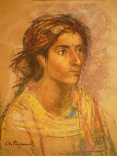 Retrato de mujer: Óleo pastel sobre papel, 45 cm. x 60 cm, 1945. La mujer es La Pascuala, una señora que ha retratado en diferentes ocasiones.