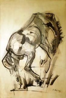 Sin título (caballo): Tinta sobre papel, 68 cm. x 98 cm., 1959. Esta tinta anticipa uno de los trabajos más emblemáticos de Castagnino: la ilustración del Martín Fierro que hizo para Eudeba en 1962.