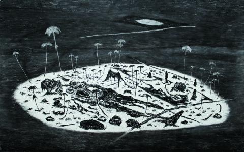 Noche Japon. 2014. Carbonilla sobre papel. 188cm x 300cm.
