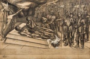 TORMENTO DE CUAUHTEMOC, (CROQUIS), 1950, SIQUEIROS