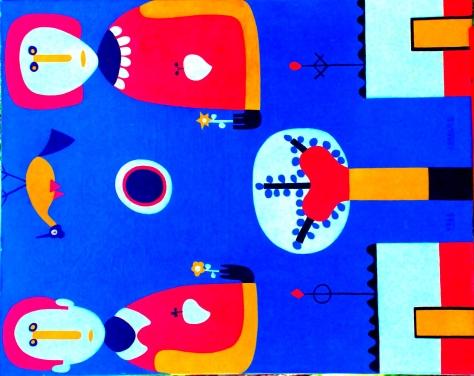 """Pirulo y Bolita"", oleo sobre tela 1962, 80 cm x 100 cm"