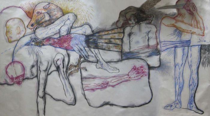 Ernesto Deira, sin titulo, 1984, dibujo sobre papel, 173x298 cm